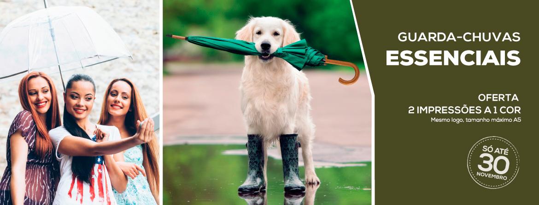 Guarda-chuvas Essenciais: Oferta 2 impressões a 1 cor